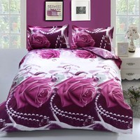 Duvet Cover Set 3D Purple Rose Printing Comfortable Bedding Set Bed Cover Duvet Cover Sets Linens (Size: Queen 3PCS)