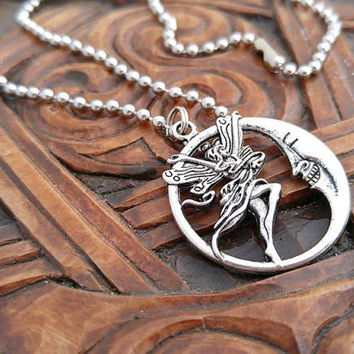 Silver Moon Fairy Necklace, Fairy Necklace, Silver Fairy, Moon Necklace, Silver Moon Necklace