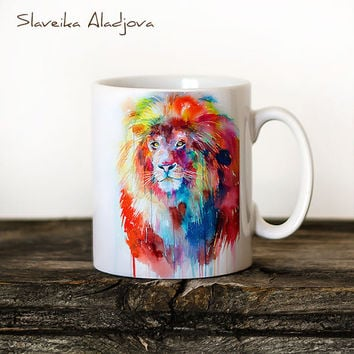 Lion Mug Watercolor Ceramic Mug Unique Gift Coffee Mug Animal Mug Tea Cup Art Illustration Cool Kitchen Art Printed mug
