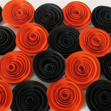"Halloween Decorations, Black and orange paper flowers set of 24, Costume party, Murder mystery dinner table decor, 1.5"" roses, Fall wedding"