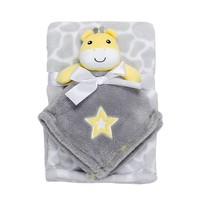 Baby Gear Plush Animal Security Blanket & Velboa Blanket Set