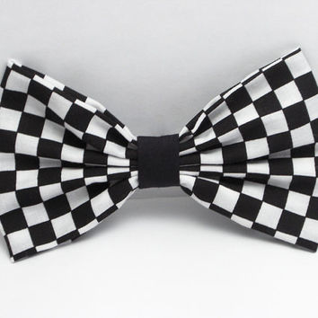 Checkers Hair Bow Clip Black And White Bow Black Bow for women Black Bow White Bow Checkers Bow Fabric Bow Clip Party Hair Bow Cheer Bows