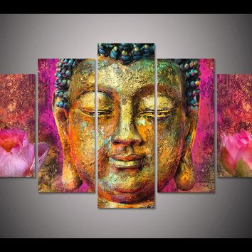 *Framed HD Print 5pcs canvas wall art pink lotus buddha Painting modern home decor wall art picture for living room decor /PT1195