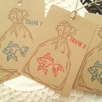 Goldfish Bag Kraft Tags Set of 8