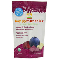 Happy Baby Happy Munchies Crisps - Organic Fruit And Veggie Banana Beet And Blueberry - 1 Oz - Case Of 8