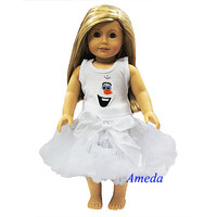 "White Tank Top Tutu Pettiskirt Olaf Costume 18"" American Girl Doll Dress"