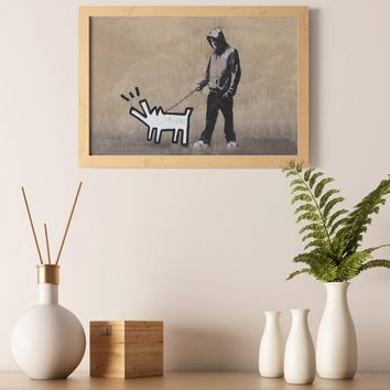 "Banksy Boy Walking Painted Dog Wall Art Poster Print - Quote ""Choose Your Weapon"" Paper Printing Room Decor - Graffiti Printable Painting"