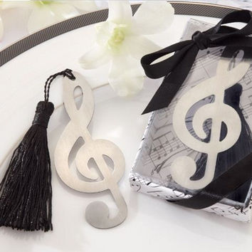 2017 Hollow Musical Notes Bookmarks Metal With Mini Greeting Cards Tassels Pendant Gifts Wedding Favors With Retail Box K6897
