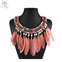 Pink Stone Embellished Feather Boho Folk Tribal Necklace