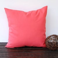 Coral throw pillow cover One 18 x 18 cushion by ThePillowPeople