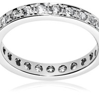 Sterling Silver Round-Cut Channel-Set Cubic Zirconia All-Around Band Ring  (0.75 cttw), Size 8