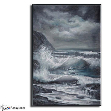 Original Landscape Oil Paintings, Landscape Art, Seascape Painting, Seascape Art, Canvas Art, Ocean Wave Painting