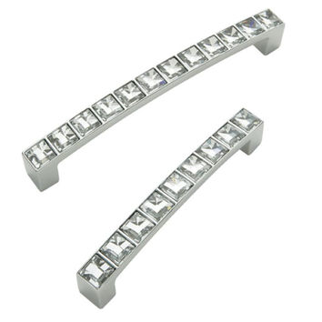D handle, Crystal, 96-128 mm hole centres