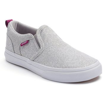 Vans Asher Girls' Glitter Slip-On Sneakers (Grey)