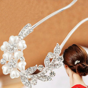 Moonso vintage combs hairbrush hair pearl hairpins clips & pins metal crystal rhinestones accessories jewelry wedding MF013