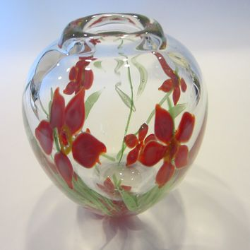 Blown Glass Flower Vase Red Irises Green Stems