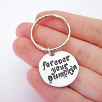 Personalized keychain, Forever your pumpkin, engraved Keychain, Metal Keychain HandStamped, hand stamped key ring, brass copper silver