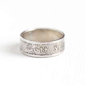 Antique Silver Gott Schuetze Dich German Ring - Early 1900s Size 5 1/2 God Protect / Bless You Engraved Religious Germany Jewelry Cigar Band