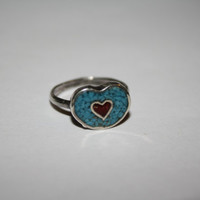 Heart Inspired Turquoise Stone and Red Coral Ring Vintage Sterling Silver Ring Size 4- free ship US