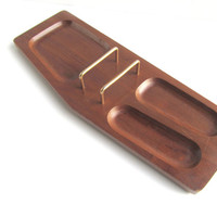 Vintage Mens Maple Wood Brass Valet Catch All