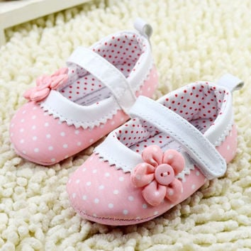 Baby Girlary Janes Shoes Infant Toddler Flower Dot Soft Sole Crib First WalkersJFY66