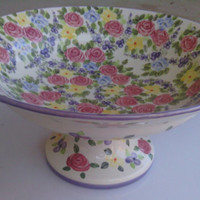 Vintage China Pedestal Bowl Cake Stand Footed Fruit Bowl Spring Chintz Floral Roses Handpainted large 15 inches by 15 inches