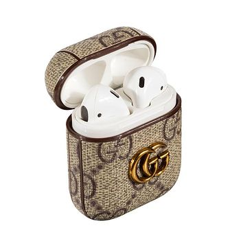 GUCCI Classic Retro iPhone Airpods Headphone Case Wireless Bluetooth Headphone Protector Case(No Headphones)