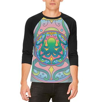 Mandala Trippy Stained Glass Octopus Mens Raglan T Shirt
