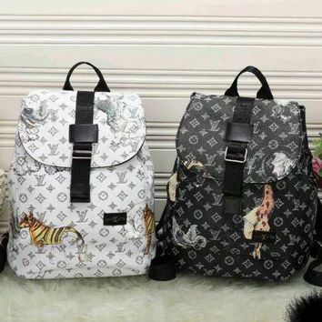 VON3TL LV Louis Vuitton Cute Pattern Leather Travel Bag Backpack
