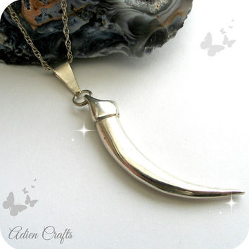 Sterling Silver Tusk Necklace, Sterling Silver Jewelry, Gift Idea