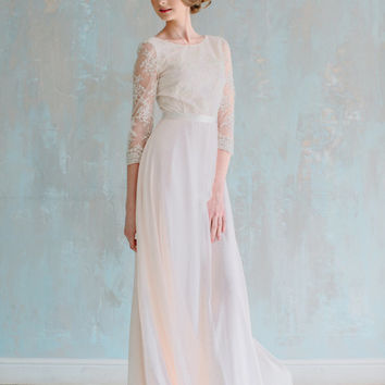 Elegant soft peach color wedding dress floor length A-line with semi-open back, knitted decorations and finest ribbon belt, wedding gown