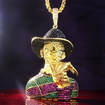 Men's Custom Nightmare Horror Iced Out Character Pendant Chain