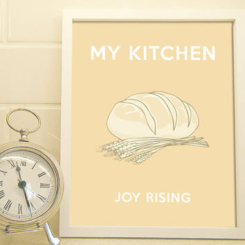 Joy Rising - Baking in My Kitchen - Art Print - Typography Poster - 8 x 10 Wall Decor