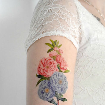 Temporary Tattoo - Vintage Flower, Pink, Blue, Penny flower, For her, Accessories