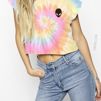 Alien Tie Dye T shirt or Cropped T-Shirt By Cake Life®