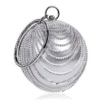 New Arrival Tassel Rhinestones Women Evening Bags Diamonds Handle Accessory Round Design Day Clutches Purse Evening Bags