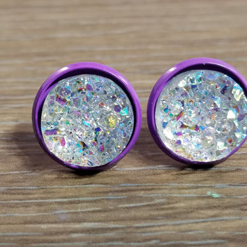 Druzy earrings- Rainbow Clear drusy - Purple stud druzy earrings