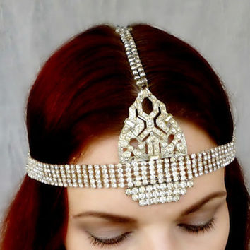 Great Gatsby Flapper Headpiece- 1920s Art Deco Vintage Rhinestone Headdress - One of a Kind