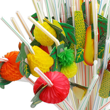 50 pieces 0.5x24cm Flexible Assorted Multicolor Plastic Fruit Cocktail Drinking Straw BBQ Hawaiian Party Theme Decoration