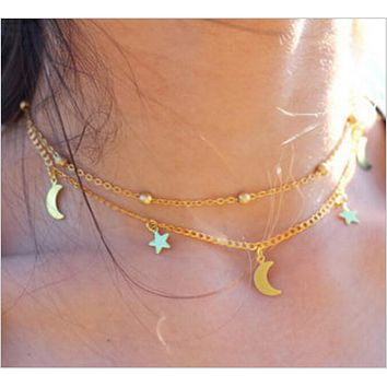 Explosive multi - layer simple and exquisite lasso moon star necklace chain
