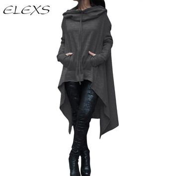 ELEXS 2017 Spring  Hoodies Women Casual Long Hoodies Sweatshirt Coat Pockets Zip-Up Outerwear Hooded Jacket Plus Size Tops 7410