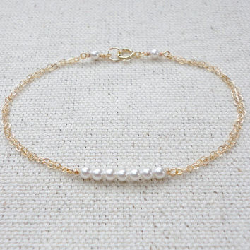 Tiny pearl bar bracelet, Swarovski pearl bracelet, Wedding bracelet, Bridesmaid gift, Simple everyday jewelry
