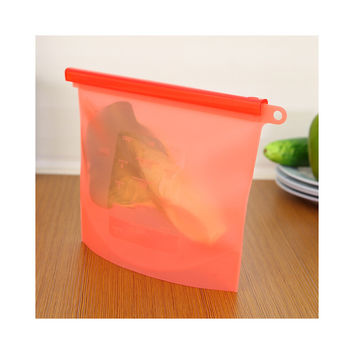 Factory Direct Colorful food-grade silicone kitchen outdoor travel portable food storage bags sealed bags self-styled RED