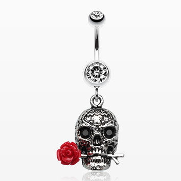Skull Rose Beauty Belly Ring