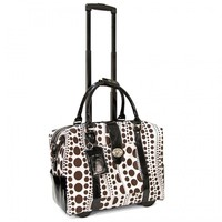 "Cabrelli 15.6"" Women's Rolling Laptop Bag - Wavy Polka Dots Rollerbrief - Laptop Bags"