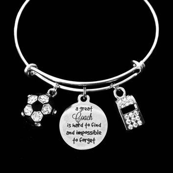 A Great Coach Is Hard to Find and Impossible to Forget Soccer Jewelry Crystal Soccer Ball Adjustable Charm Bracelet Silver Expandable Bangle One Size Fits All Gift Coach Whistle