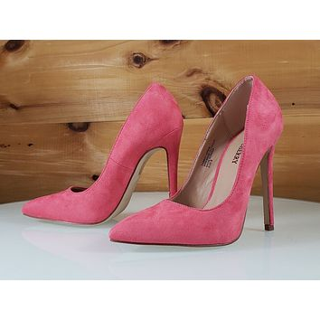 "Red Cherry Soft Pink Vegan Suede Pointy Toe Pump Shoe 4.5"" Stiletto High Heels"