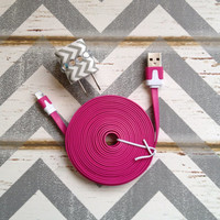 New Super Cute Jeweled Grey & White Chevron Designed iPhone 5/5s Wall Connector + 10ft Flat Hot Pink Cable Cord