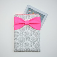 iPad Case - Android - Microsoft Tablet Sleeve - Gray and White Damask Dayglo Pink Bow - Padded