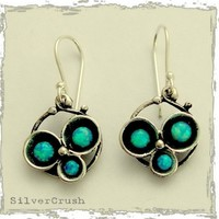 Sterling silver oxidized earrings with three blue by silvercrush